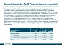 Second Quarter 2018 Reconciliation of Non-GAAP Financial Measures (unaudited)
