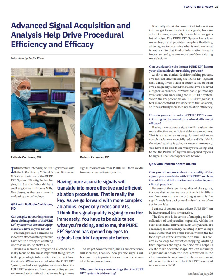 Advanced Signal Acquisition and Analysis Help Drive Procedural Efficiency and Efficacy