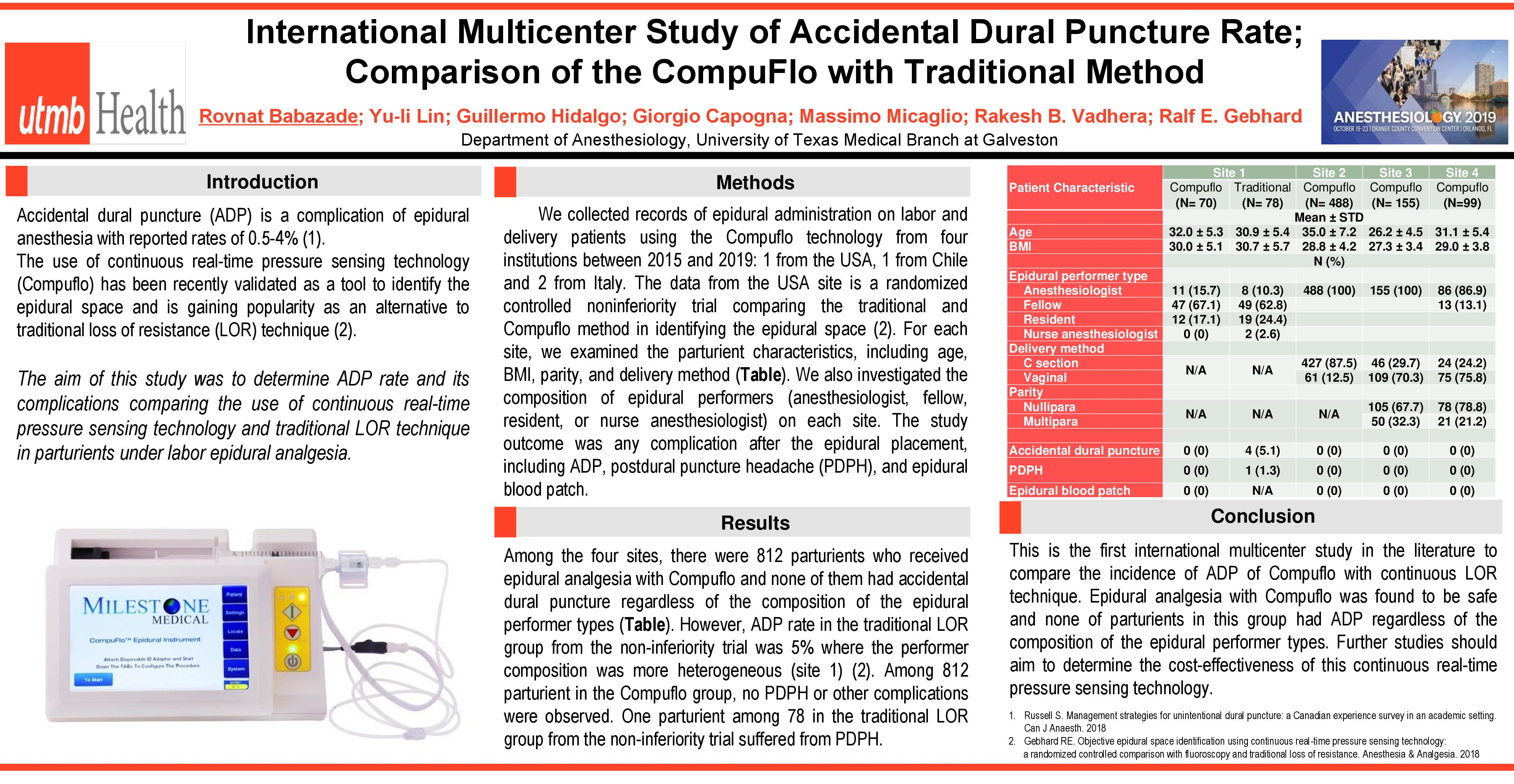 International Multicenter Study of Accidental Dural Puncture Rate; Comparison of the CompuFlo with Traditional Method ANESTHESIOLOGY® 2019 Annual Meeting in Orlando, Florida