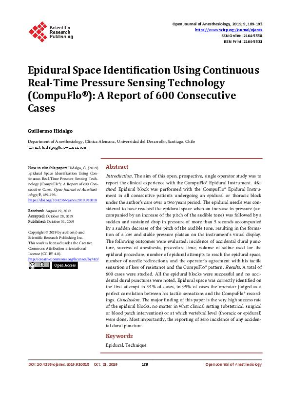 Epidural Space Identification Using Continuous Real-Time Pressure Sensing Technology (CompuFlo®): A Report of 600 Consecutive Cases