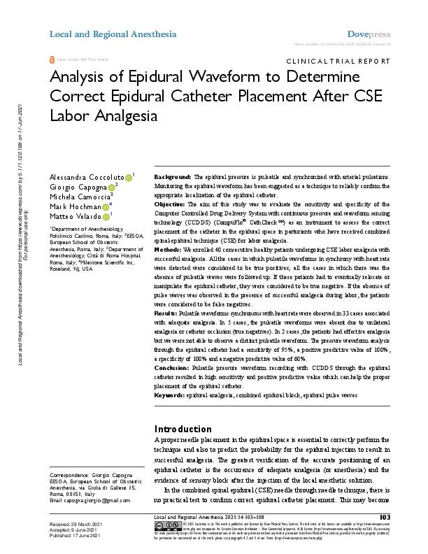 Analysis of Epidural Waveform to Determine Correct Epidural Catheter Placement After CSE Labor Analgesia