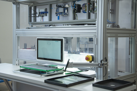 An artificial intelligence-enabled visual inspection machine, powered by Intel Movidius vision processing unit, at EXOR's smart factory in Verona, Italy. (Credit: EXOR)
