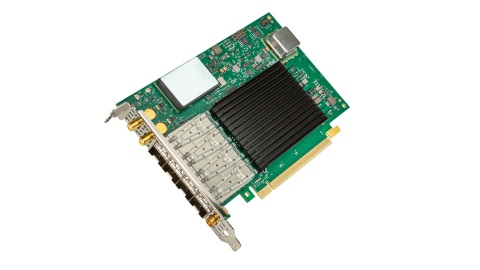 Intel Ethernet 800 Series family expands with the Intel Ethernet Network Adapter E810-XXVDA4T. It enables high-precision network timing accuracy with support for 1588 Precision Timing Protocol, Synchronous Ethernet and an integrated GNSS module. (Credit: Intel Corporation)