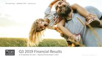 The Joint Q319 Financial Results as of September 30, 2019