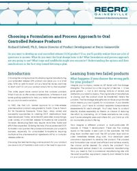 Choosing a Formulation and Process Approach to Oral Controlled Release