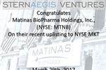 Matinas BioPharma (NYSE: MTNB) Rings NYSE Closing Bell, March 29, 2017