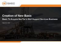 Basic to Acquire NexTier's Well Support Services Business