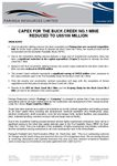 Capex for the Buck Creek No.1 Mine Reduced to US$106 Million