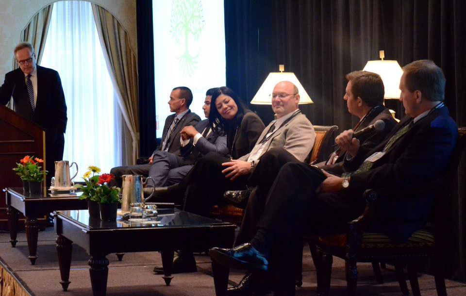 CEO Doug Bathauer responds to one of the panel members