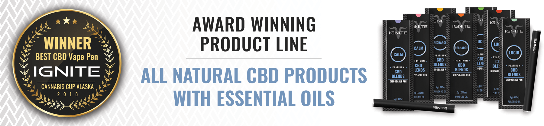 Award winning product line. All natural CBD products with essential oils.