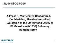 A Phase 3, Multicenter, Randomized, Double-Blind, Placebo-Controlled, Evaluation of the Efficacy and Safety of IV Meloxicam (N1539) Following Bunionectomy