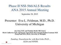 NSI-566 ALS Phase I/II Data Presentation by Eva Feldman, PhD, MD – 2015 ANA Annual Meeting