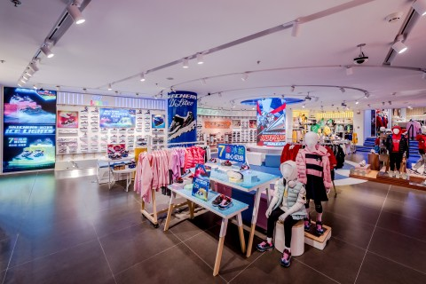 Playful interior of China's largest Skechers Kids store, which is now open in Disneytown at the Shanghai Disney Resort. (Photo: Business Wire)