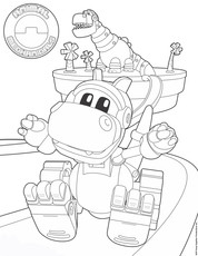 Slide with Rex Coloring Page