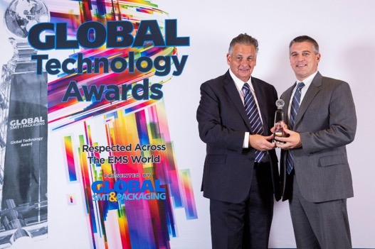 Astronics EVP, Jon Sinskie (right), accepted the award from Global SMT & Packaging Editor-in-Chief, Trevor Galbraith (left).