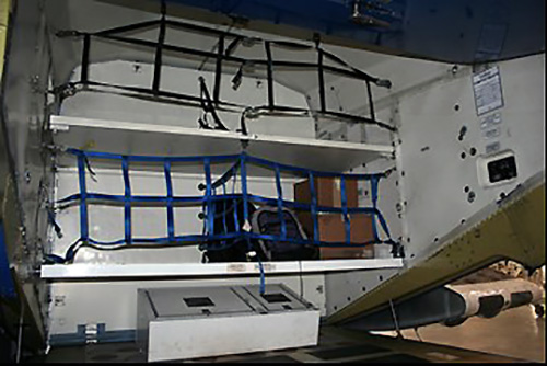Lower Cargo Shelf and Cargo Restraint Nets