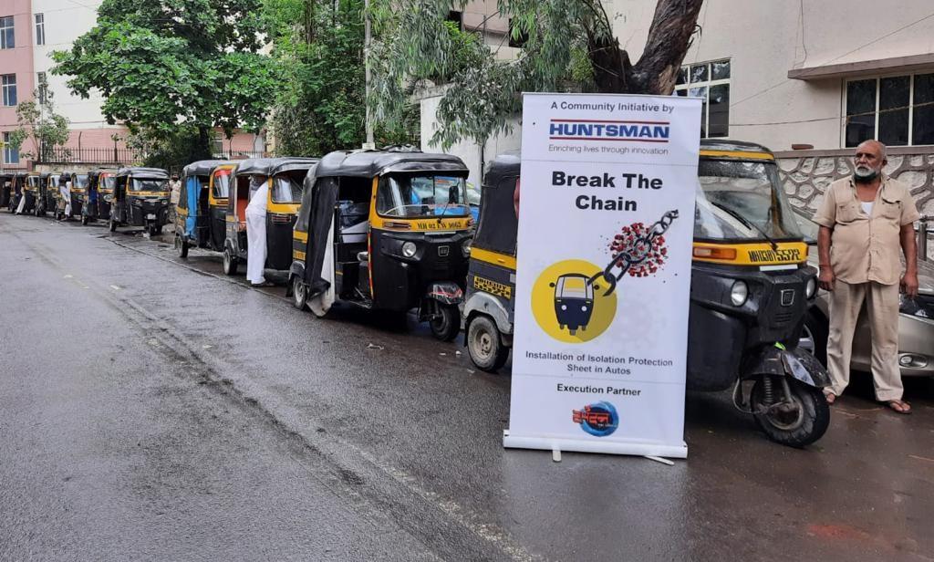 Huntsman Installs Isolation Protection Sheets in Auto-Rickshaws in India