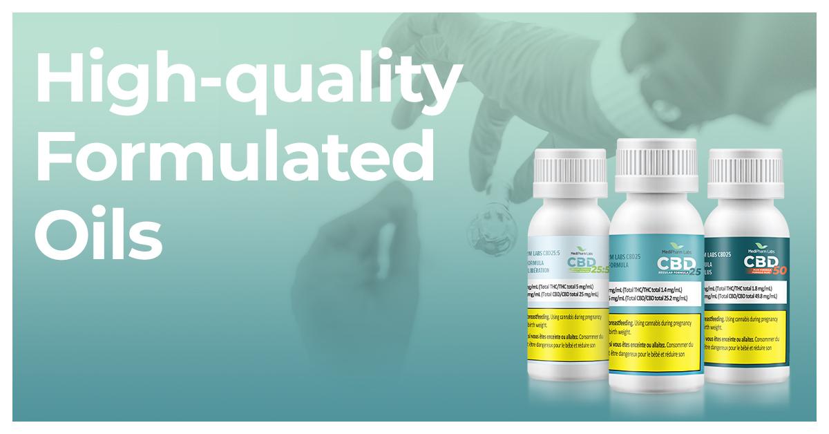 MediPharm Labs family of high-quality formulated bottled oil.