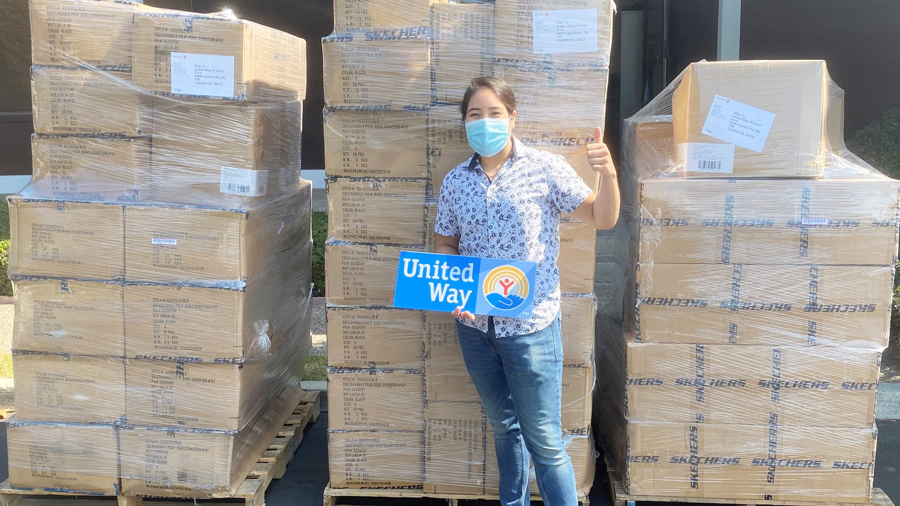 Skechers has donated more than 16 million new pairs of shoes to children in need globally, including pairs to the United Way - helping homeless families in Santa Cruz's CZU August Lightning Complex fires in California and Almeda fires in Oregon. Photo Credit: United Way of Santa Cruz County